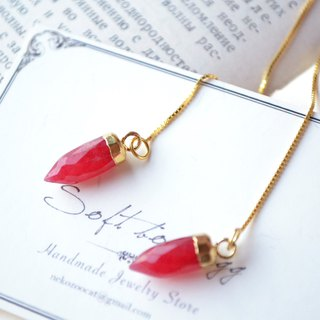 Ruby with s925 Sterling Silver GP Ear Threaders