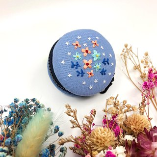 Embroidered Macaron Coin Purse / Headphone Bag / Jewelry Box / Charm