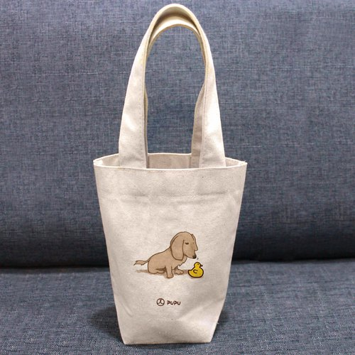 Sausage-duck---Taiwan-made cotton linen-Wen Chai Shijiao-Environmental-Beverage bag-Flies Planet