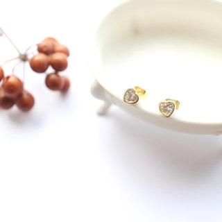 Mini Heart- zircon brass earrings