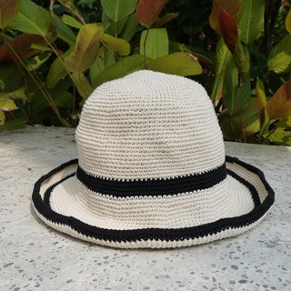 Mama の hand-made hat - handmade cotton rope crocheted hat / wide-brimmed hat - simple black X white / Mother's Day / gift