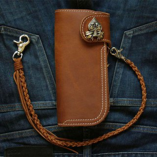 Biker long Wallet chain ring Genuine Leather skull ace of spades heavy cafe race