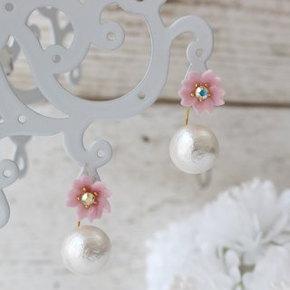 Cherry blossoms and bijou and cotton pearl back catch earrings