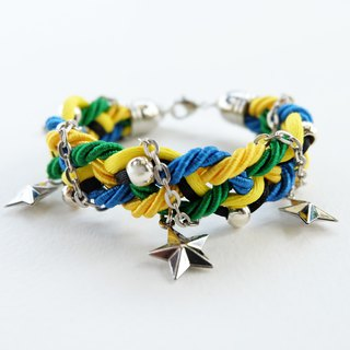 Blue Green Yellow Black braided bracelet with silver color materials and stars