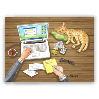 Hand-painted illustration universal card / postcard / card / illustration card - cat with the owner's office