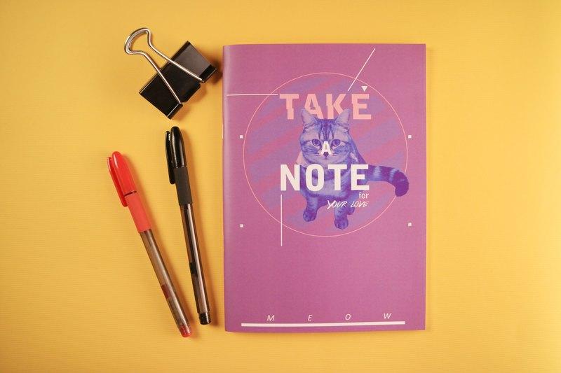 Deerhorn design / 鹿角 MEOW 你的生活 筆記本 貓 紫色