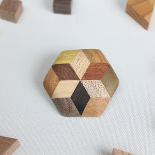 Hexagon brooch with parquet star