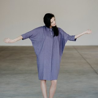 Linen Oversized Boyfriend Shirt Dress Motumo 15S2