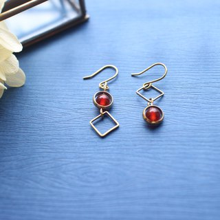 Red autumn-Brass handmade earrings