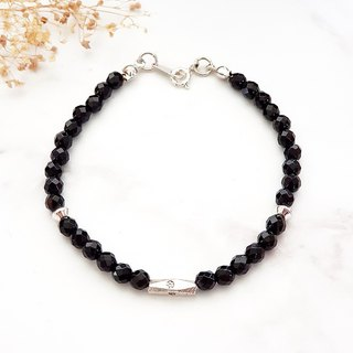 Lucky Energy Series - Confident Energy Cut Surface Black Onyx 925 Sterling Silver Bracelet Natural Stone Customization