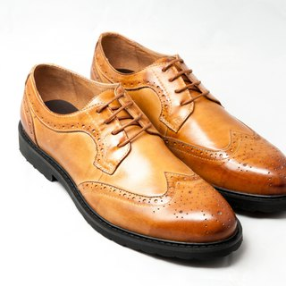 Hand-painted calfskin wing carved Derby shoes leather shoes men's shoes - caramel color - free shipping - E1A14-89