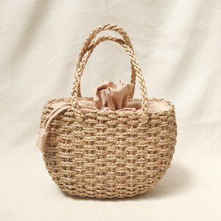 Natural Straw Oval Handbag
