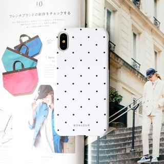 White and black dot phone case