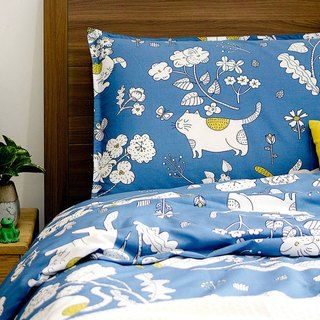 Lan Jinyu pillowcase + quilt cover two-piece single double original hand-painted cat 40 cotton bed package optional