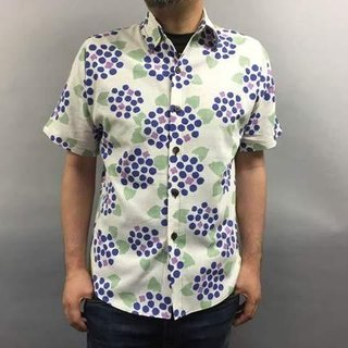 Short-sleeved shirt Japanese Pattern (hydrangea pattern)