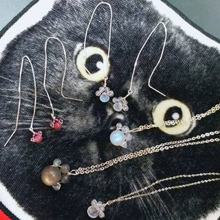 10MM Moon stone meow star powder meatball 925 sterling silver collarbone necklace 10mm cat paw shape moonstone 925 silver necklace