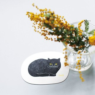 Classiky x Tomotake Letterpress Cat Coaster【Oval (22101-02)】