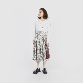 [Egg Plant Vintage] Showa Ginza Lace Collar Printed Vintage Dress