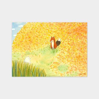 Yellow Fox and Flowers | Illustration Poster Prints