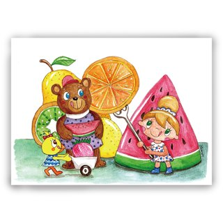 Hand-painted illustration Universal / postcards / cards / illustration card - fruit paradise