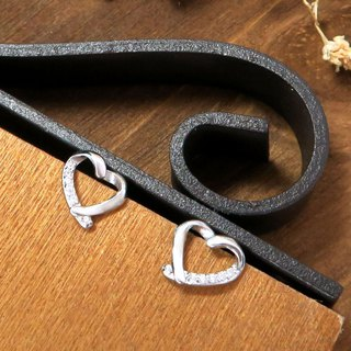 Ribbon Love Heart Love Silver Earrings (White K Gold Style)