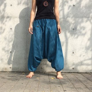 Travel Pants - Alibaba Pants (Sea Blue) (Single Pocket) (Striped Cotton)