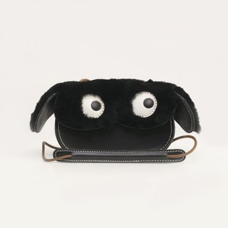 JulyChagall cute dog tanned leather with wool fur one hand shoulder mini bag Messenger bag