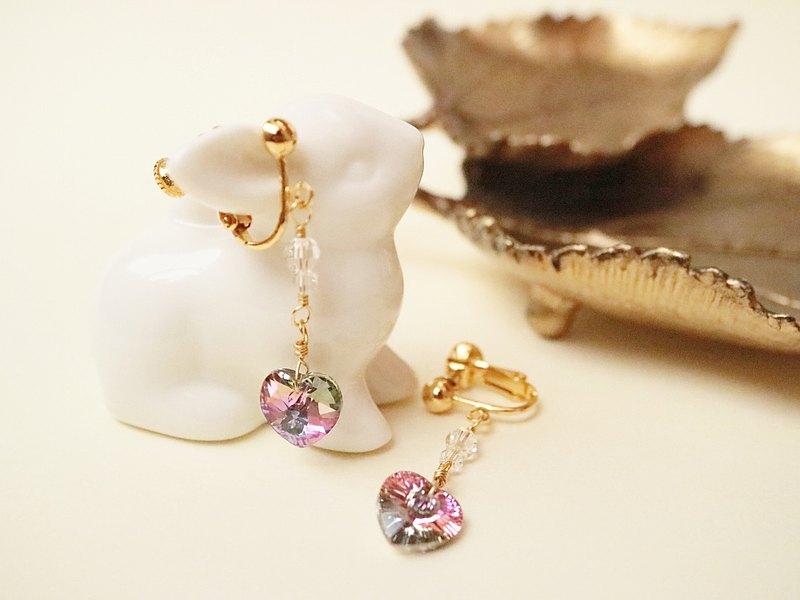 暮光之夢耳夾心形奧地利水晶玻璃細Vitrail淺紫色紫粉紅幻夢彩虹粉彩