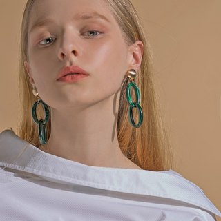 Green Marble Link Earrings / Ear Clips