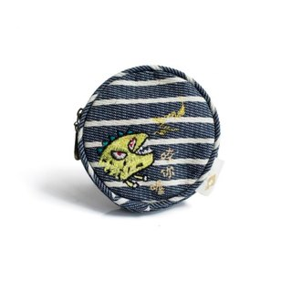 Dinosaur (Little Uncle) Round Zipper Bag: Monster Children's Painting Coin Purse Headphones Power Cord Storage