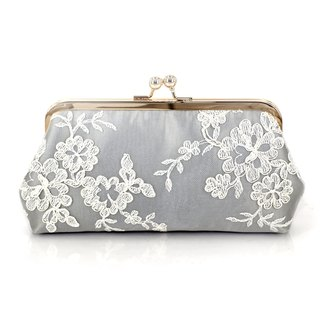 Silver Grey Satin Floral Alencon Lace Bridal Bridesmaids Clutch 8-inches
