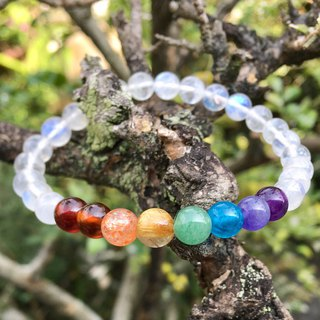 Natural stone rainbow bracelet (blue moonstone body, silver-free version)