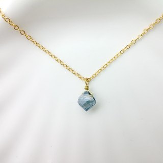 ♥ HY ♥ x necklace handmade crystal glass droplets diamond facets Blue Ash