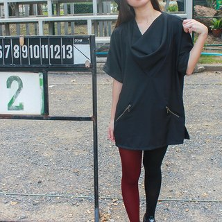 Cowl Neck Over Size Black Blouse