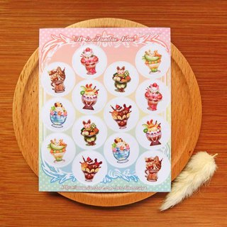 Small round sticker - sundae rabbit