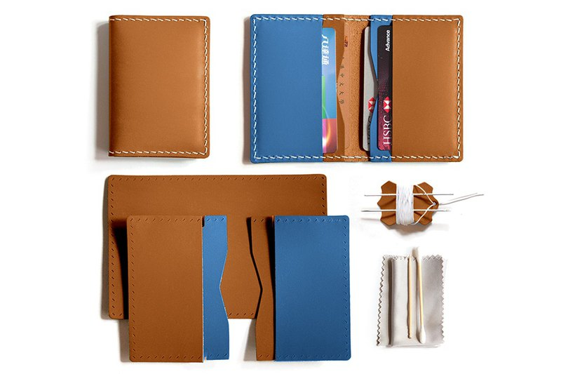 Fading Mist Leather DIY Kit Set -Bi-fold 4 Slots Card Holder