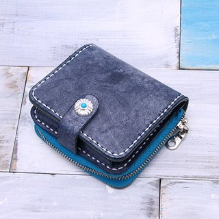 [Cut line] leather handmade short paragraph mini wallet blue