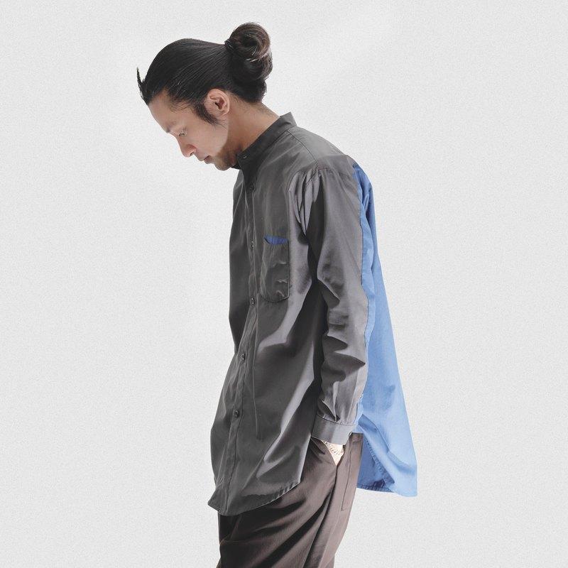 圓弧雙色襯衫 深灰x灰藍 寬鬆長版