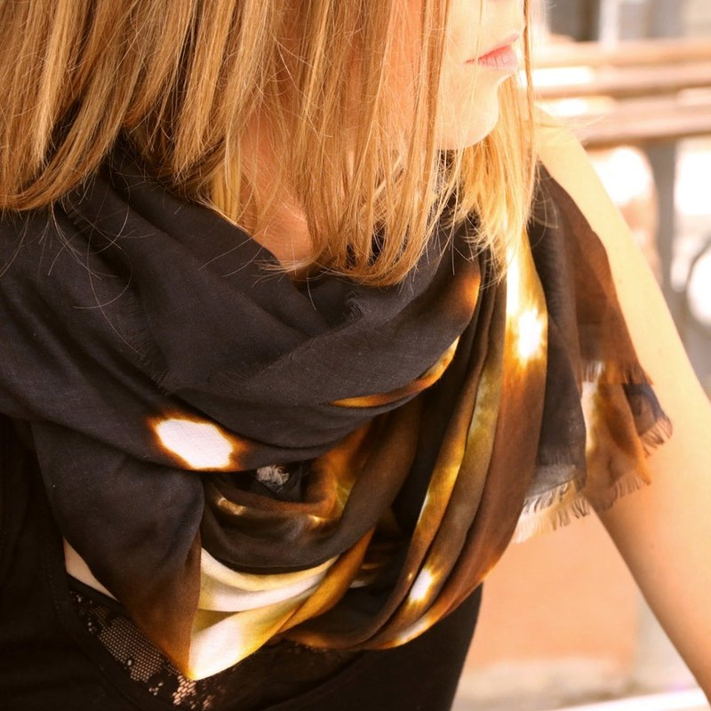 "Limited release Senna Stardust ""Universe2"" pure silk blend scarf Parisian woman's fashion temperament style French style"