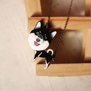 Shiba Inu / Black / Hair Kid in Neck / Top-heeled / Short Chain