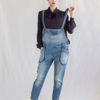 Retro brush color AB vintage sling nine pants