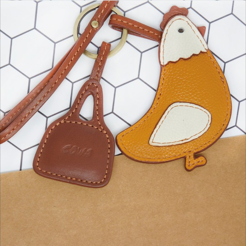 牛革生肖鑰匙圈 - 雞