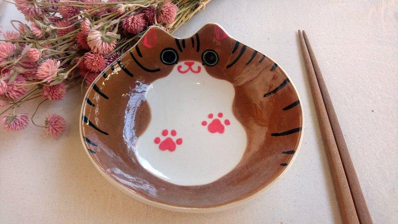 Hey!鳥朋友!胖貓貓深盤-咖啡底虎斑貓貓