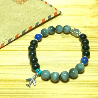 Journey safe eagle eye turquoise lapis lazuli obsidian labradorite sterling silver accessories lucky bracelet