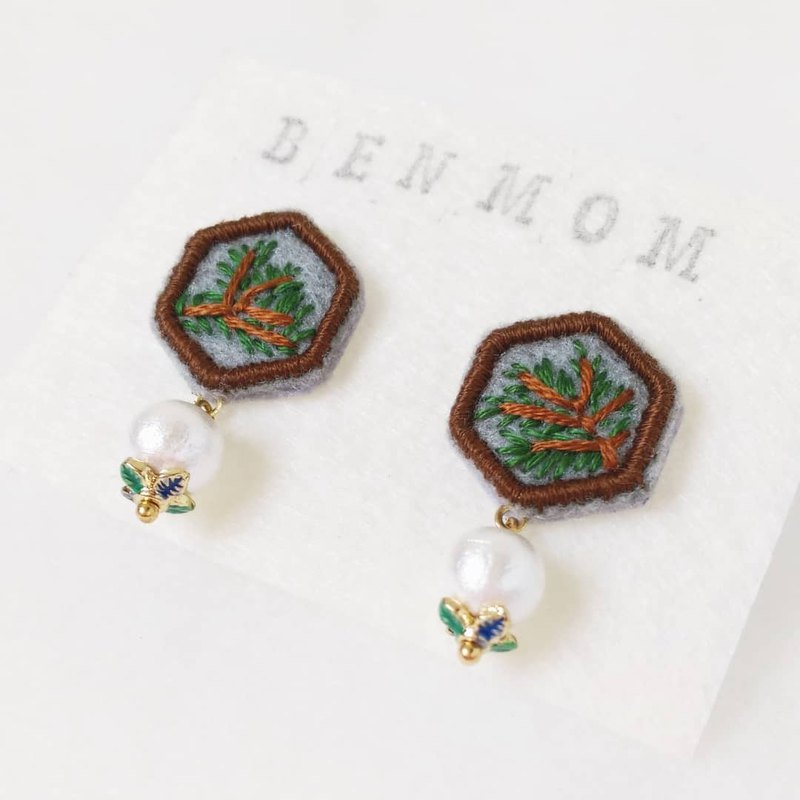 Window Hehuanshan Songxue Building Limited Hand Embroidered Earrings Stud Earrings
