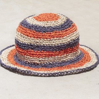 Limited edition handmade cotton and linen hat / weaving hat / fisherman hat / sun hat / straw hat / hand-woven hat - tropical fruit orange and blueberry colorful stripes (small hat)