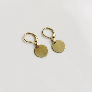 Small round simple brass earrings