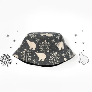 Warm sanded double-sided fisherman hat - snowflake Christmas bear (grey)