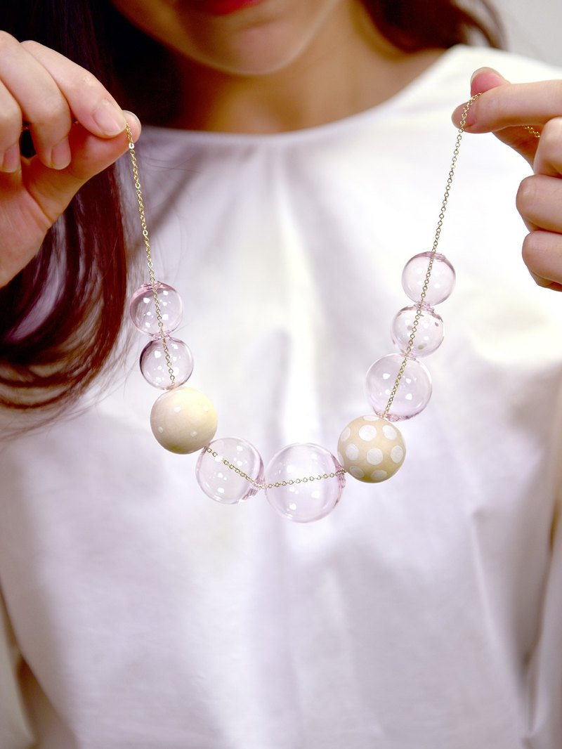 GIOIA PINK - Glass Bubbles +Handpainted wooden beads Necklace