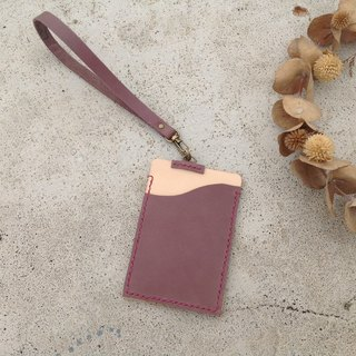 (Lanyard) Straight identification card. Document folder, travel card sets, card sets, business cards, hand-stitched, the original leather + purple lotus color